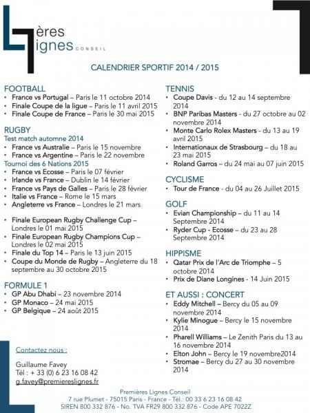 Calendrier sportif 2015